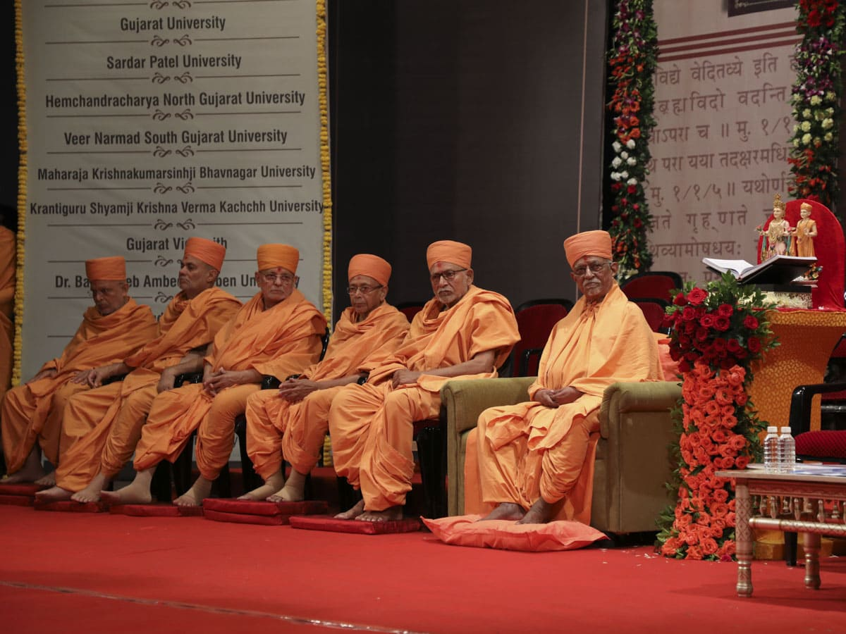 Pujya Doctor Swami, Pujya Bhaktipriya Swami (Kothari Swami), Pujya Tyagvallabh Swami, Pujya Ishwarcharan Swami, Pujya Viveksagar Swami and Pujya Ghanshyamcharan Swami during the assembly