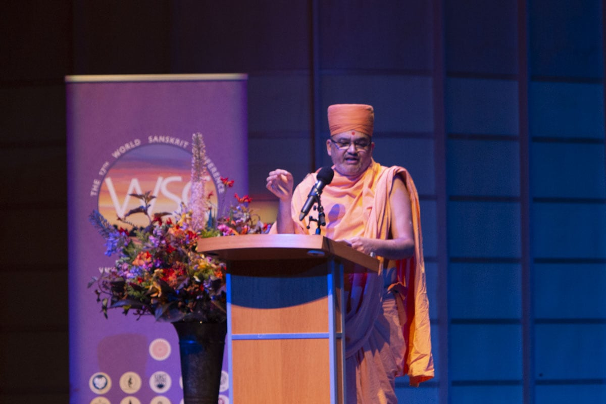 Mahamahopadhyaya Bhadreshdas Swami addressing the 17th World Sanskrit Conference