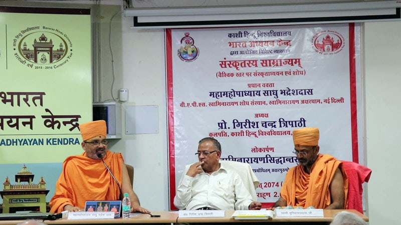 Sadhu Bhadreshdas Swami addresses the assembly